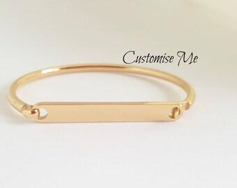 Childs Gold ID bracelet, Stainless steel name bangle, Custom hand stamped kids medical bangle, Personalized childrens bracelet,