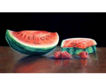 Watermelon and Raspberries Pastel Drawing Print