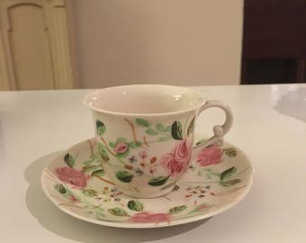 Vintage Hand Painted Blue Ridge China Cup and Saucer Beautiful rose pattern Perfect decor for shabby chic or Cottage chic home
