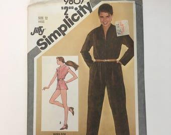 Simplicity 9807 Vintage Pattern Womens Jumpsuit or Romper Size 12 UNCUT