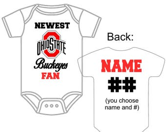 Newest Ohio State Buckeyes OSU Fan Custom Made Personalized Football Gerber Onesie You Choose Name Number - Great New Baby Shower Gift