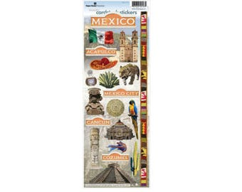 Scrapbook Stickers - Paper House Productions Mexico Cardstock Travel & Vacation Embellishments