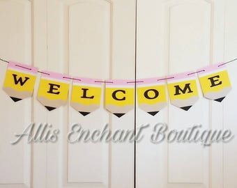 Back to School Banner Pencil Silver  white Banner Pink Class Party Banner Teacher Welcome Class Banner