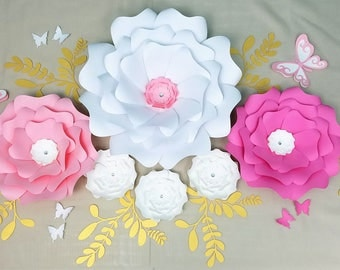 Paper flowers wall decor. Large paper flowers wall. Nursery large flowers wall. Baby shower backdrop. White pink gold flowers wall. Sale.