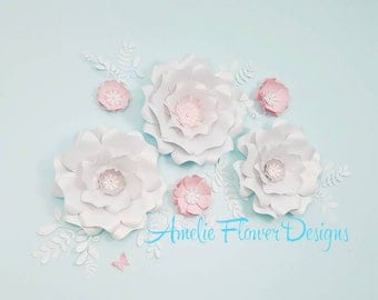 Paper flowers wall decor. Large paper flowers wall decor. Nursery flowers wall. Wedding backdrop. Baby shower backdrop. White paper flowers.