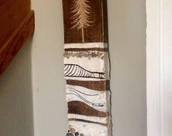 Encaustic and wood encaustic painting, trees & rocks
