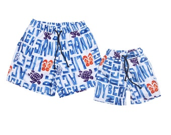 "Swim shorts ""Ocean Beach"", Partnerlook father son set price!"