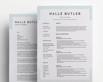 resume design for microsoft word and photoshop minimal resume template customizable instant download - Download Cover Letter Template