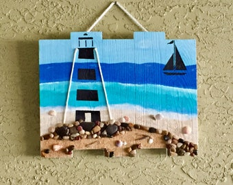 "Silhouette ""Two If By Sea"" Lighthouse Wood Sign"