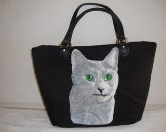 Cat, Russian Blue, Handbag, leather handles, canvas weave 100% Polyester, foam interlining , cotton interior lining, fabric, tote, pets,