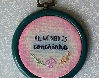 Embroidery wall art all we need is spooning, watercolor handmade embroidery hoop