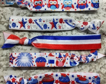100 Patriotic Hair Ties
