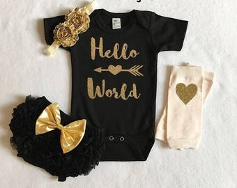 baby girl coming home outfit - baby girl shower gift - hello world new baby girl outfit- newborn baby girl - black and gold baby girl outfit