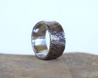 Sterling silver ring, Hammered ring, reticulated silver ring, hammer textured ring, unique ring