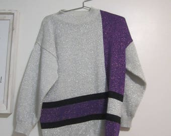 Vintage 80s GLAM DISCO Sweater Purple Silver Metallic 1980s Shenanigans Large Sweater Womens Top Oversized