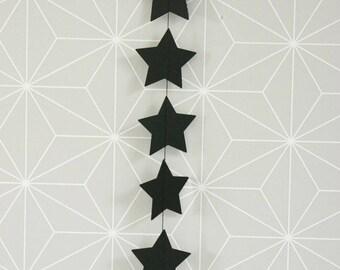 Paper Garland-Star Black + neon pink star