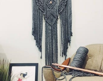 Macrame Wall Hanging Large GREY + COPPER