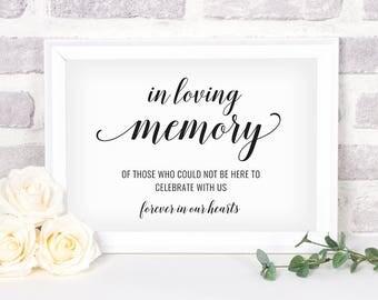 Printable In Loving Memory Sign. Bridal Shower Sign. Wedding Sign. In Loving Memory Sign