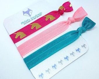 Hair Ties | Elastic Hair Ties | Hair Tie Bracelets | Unicorn | Rose | Azure | Hot Pink