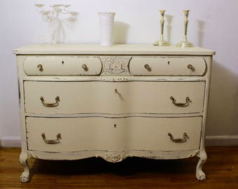 SOLD Shabby Chic Dresser, Free NYC Shipping, Antique White Dresser, Distressed Chest of Drawers, Country  Cottage Dresser, Rustic Dresser
