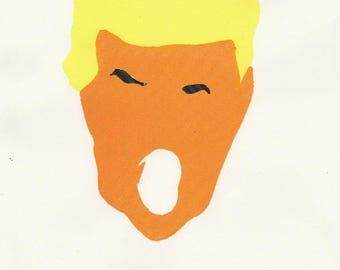 Donald Trump Screen Print, A4 Cartridge Paper