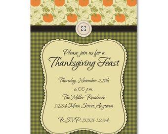 Thanksgiving Dinner Party Invitation -- Rustic Pumpkins and Gingham -- Custom Digital File