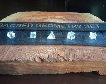 Sacred Geometry 7 Piece Platonic Solids Clear Quartz