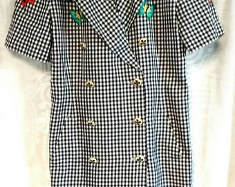 Vintage Escada Margaretha Ley Shirt Dress Embroidered Butterfly Novelty size 14 US Plaid