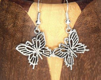 Silver butterfly, silver plated clip on earrings butterfly earrings