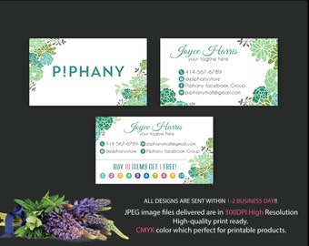 Piphany Business Card, Custom P!phany Business Card, Personalized Consultant Piphany Marketing Kit, Water color card, Printable Card TP05
