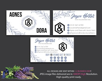 Agnes Dora Business Cards, Custom Agnes and Dora Punch Card, Personalized Business Cards, Printable Agnes Dora Business Card AG18