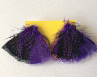 Purple and black triangle feather stud earrings.