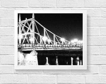 Digital Photo Printable/Instant Download Photography/Black and White Photography/Night Photography/Bridge at Night/Affordable Wall Art