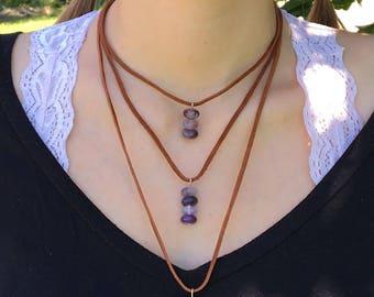 Natural amethyst necklace, Leather necklace, Gemstone, Boho necklace, Boho jewelry, Handmade jewelry, Quartz, Layered necklace, Multilayered