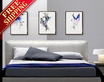 Bedroom Wall Art  Painting Butterfly Art Print  Decor, Set 3 Bedroom Butterfly Blue Decor Butterfly Art Print Bedroom Wall Art Painting (G4)