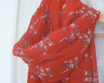 Ladies Women's Red Cow Parsley Seed Head Print Scarf Shawl Wrap