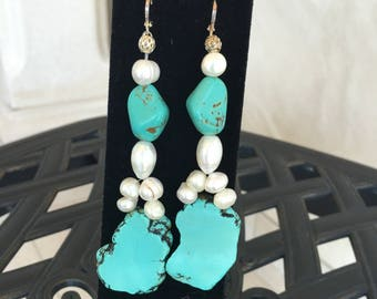 Turquoise and Fresh Water  Pearls Earrings by Dobka