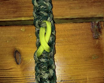 Support the troops paracord keychain