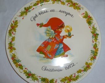 Vintage 1972 Christmas blessing plate by GiGi