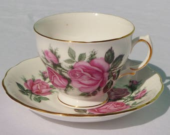 vintage teacup & saucer with pink roses and gold trim