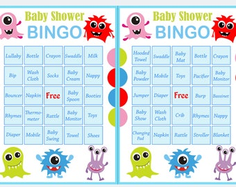 monster baby shower bingo, 60 monster Baby Shower Bingo Cards -  baby shower Bingo Card , Printable Blank Bingo Cards AND PreFilled Cards