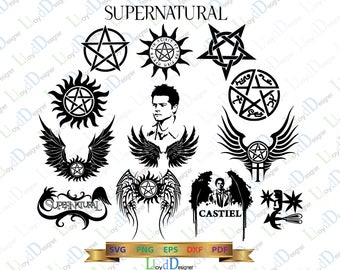 Supernatural SVG Supernatural logo gift Supernatural Castiel decor Supernatural clipart svg png dxf eps for Print Silhouette Cameo Cricut