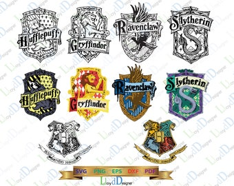 Harry Potter SVG Hogwarts House Crests Ravenclaw svg Gryffindor svg Hufflepuff svg Slytherin svg png eps dxf cut files Silhouette Cricut