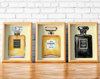 Chanel Perfume Bottles | Chanel Art Set of 3 | Chanel Perfume | Chanel Perfume Print | Chanel Perfume Poster | Chanel Perfume Wall Art |