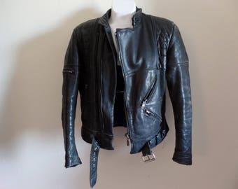 80s 90s Black Harley Davidson Leather Jacket/ American Cowhide/ Motorcycle