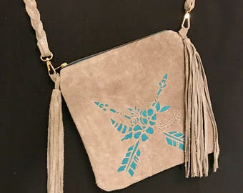 Tribal Friendship Arrow Suede Leather Bag