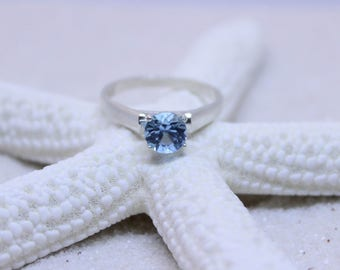 London Blue Topaz Engagement Ring, Solitaire Cathedral Setting, Sterling Silver 925