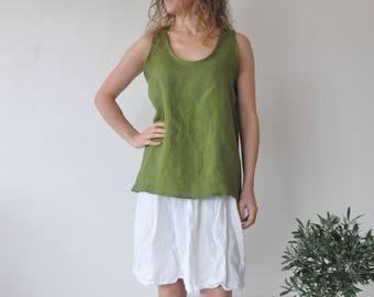 Green linen tank top, tunics women, white linen top, linen blouse, linen shirt, linen blouses women, plus size boho tunic, tunics oversized