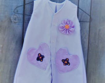 Hand made Upcycled Girl's dress from Men's shirt, Lilac dress, Age 3