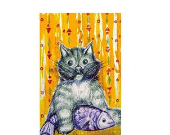 Illustration. . Cat and fish. Hunter. Aceo . Card. Original painting, Art Deco stily. Aceo card